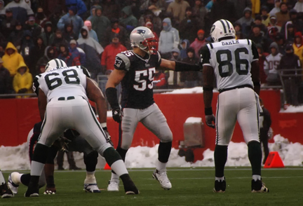 Junior Seau with the New England Patriots against the Jets