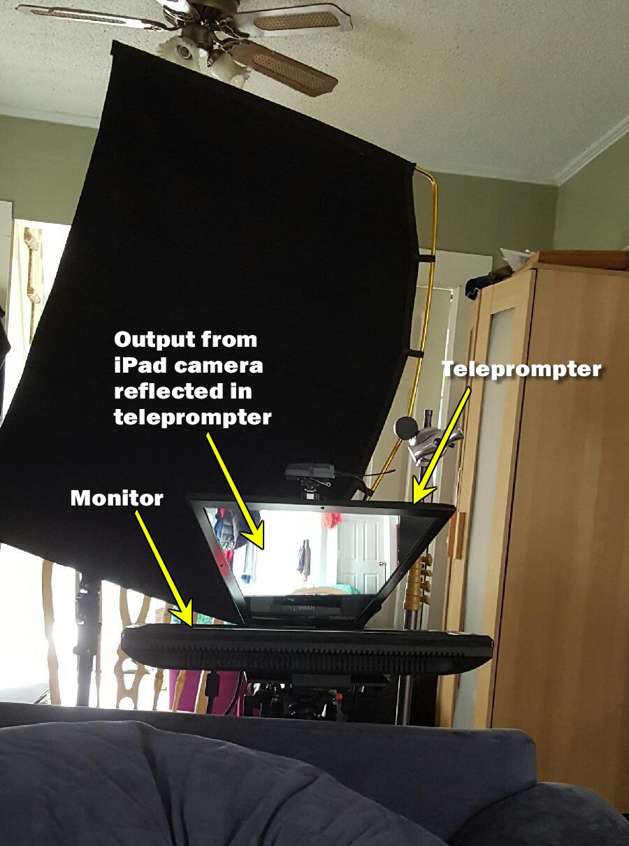 Video teleprompter setup.