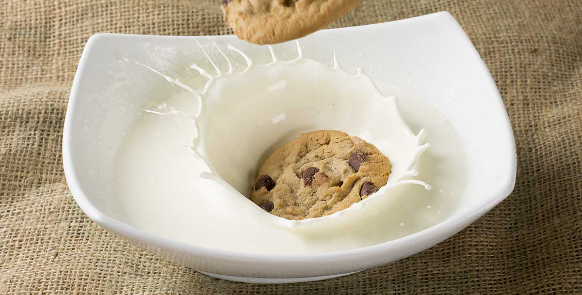Final composite of high-speed food photography with cookie