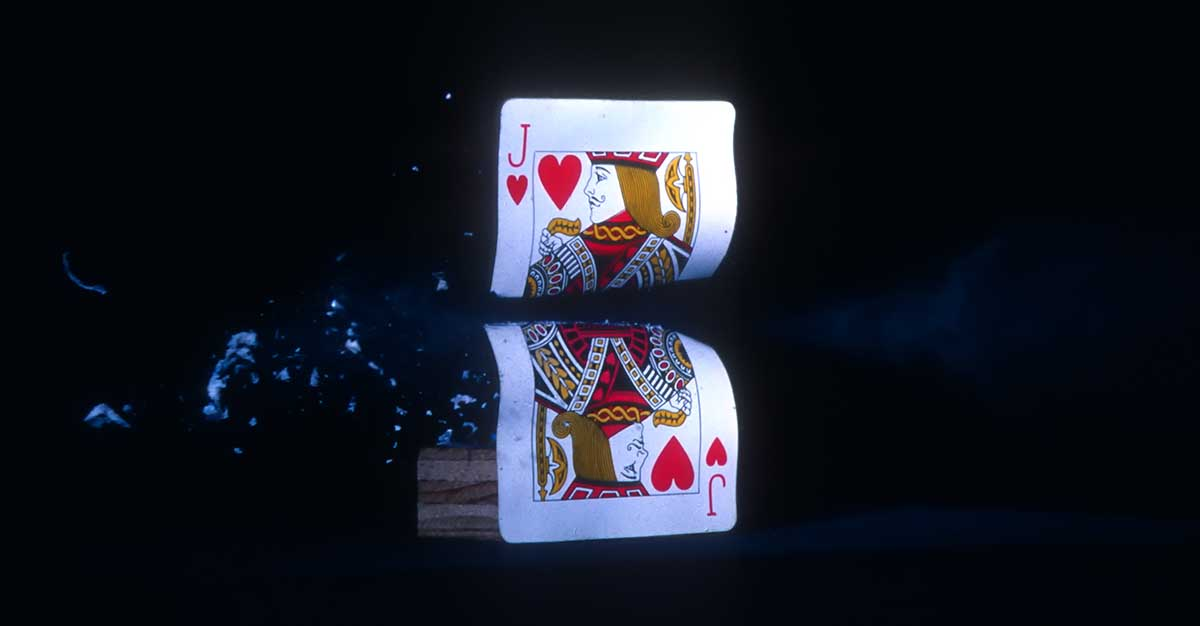 High-speed photography with playing card circa 1978.