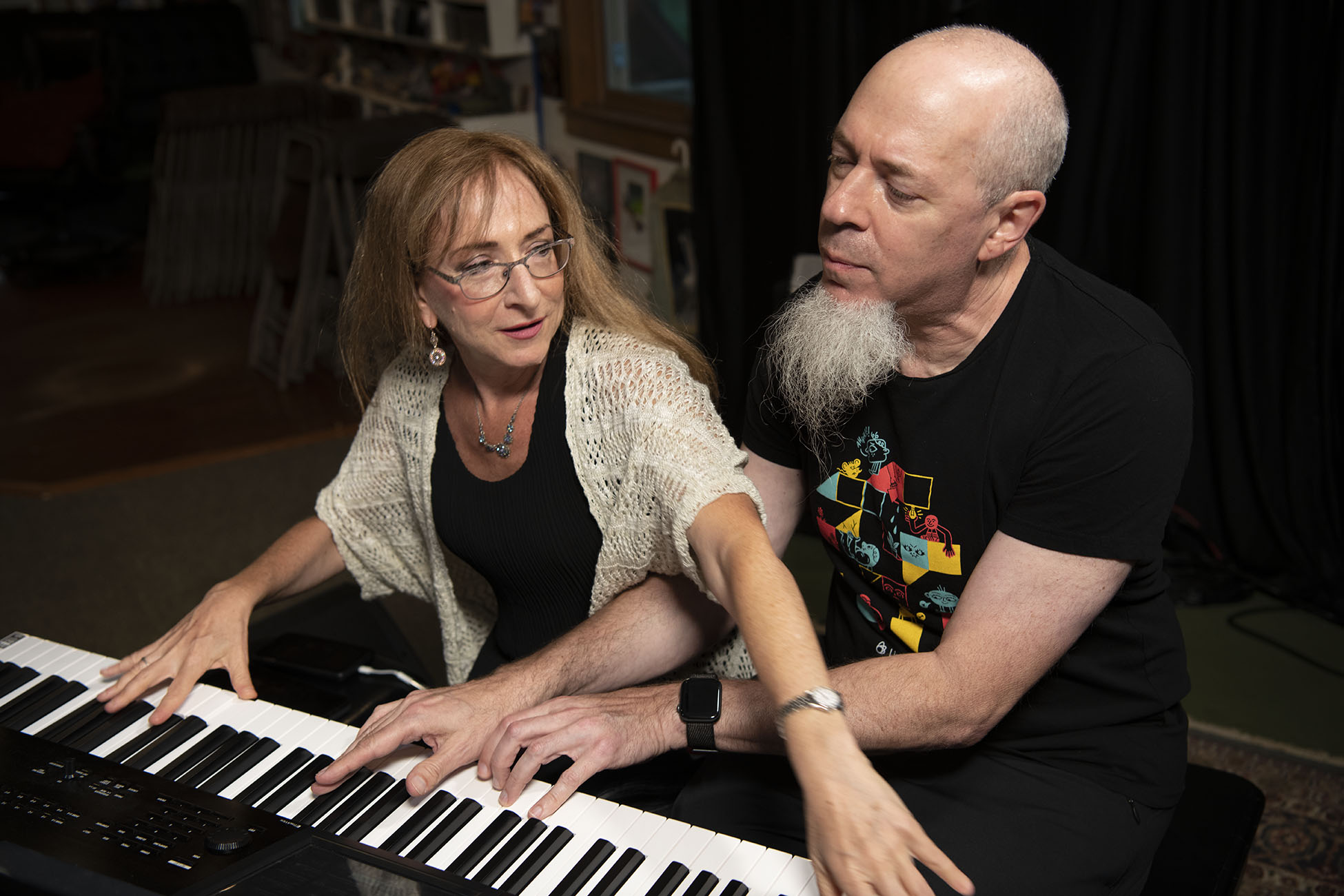 Jordan Rudess and Judith Stillman at the LoFaro Center of the Performing Arts, August 17, 2019