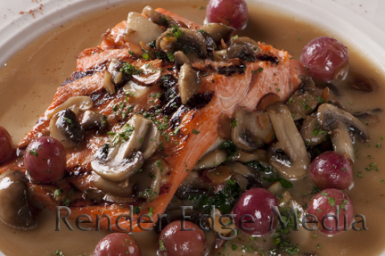 Salmon Almondine as prepared by Chef Andy Fass of Amelia's Restaurant in Gainesville, FL