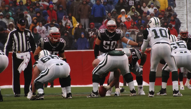 Junior Seau as a New England Patriot along with Mike Vrabel against the New York Jets, 2007.