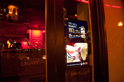 Digital Display in window at Red Sky Restaurant & Lounge in Boston, MA.