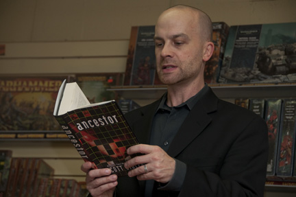 Scott Sigler reading ANCESTOR in Cambridge, MA.