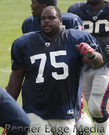 New England Patriots defensive tackle Vince Wilfork in Training Camp versus the New Orleans Saints 2010.