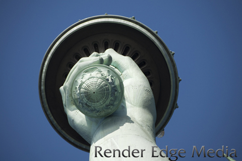 Close up of the hand with torch of the Statue of Liberty from underneath.
