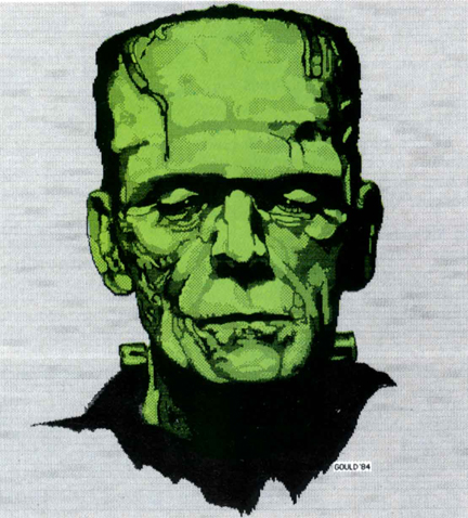 Elliot Gould MacPaint painting Frankenstein published in MacUser June 1986.
