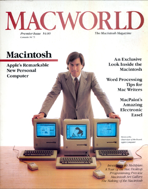 Steve Jobs on the cover of the debut issue of MacWorld in 1984.