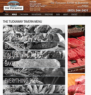 Renovated Tuckaway Tavern and Butchery website