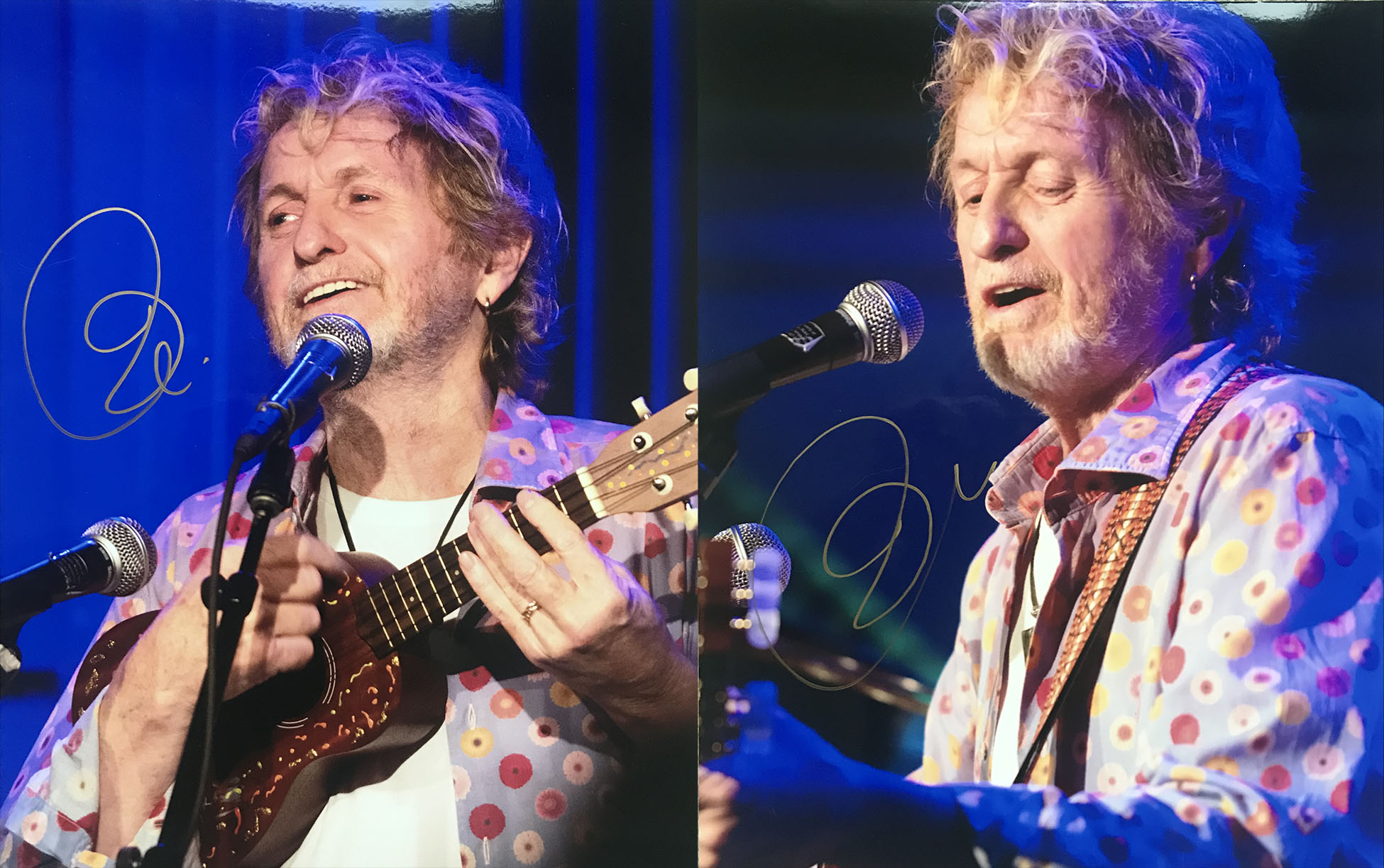 Jon Anderson signature on photos from the Tupelo Music Hall, 2-14
