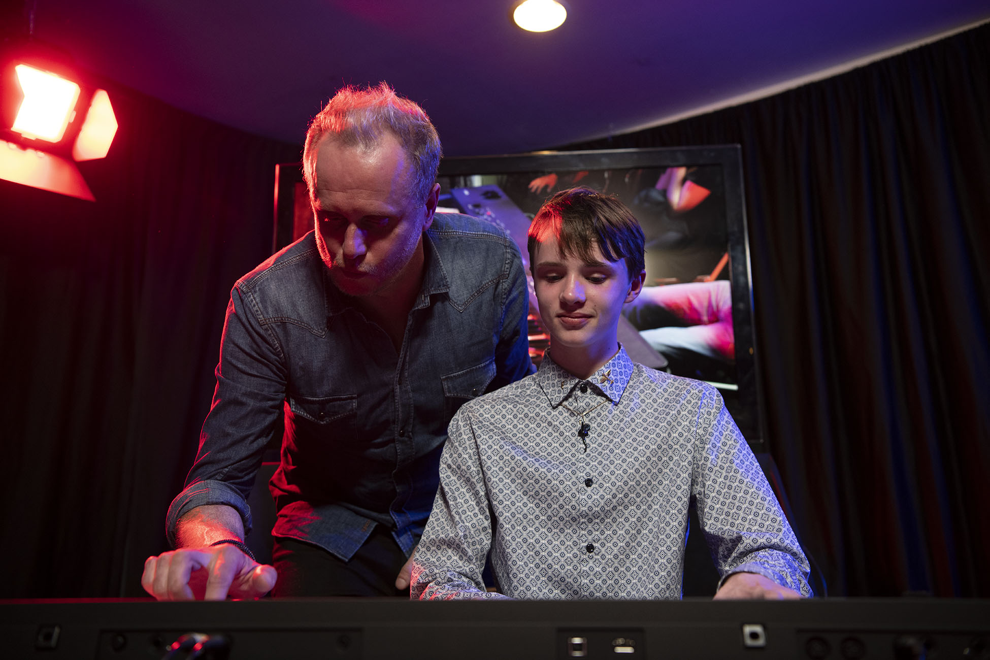 "Keith Emerson's son, Aaron, and grandson, Ethan, playing ""Trilogy"" together."