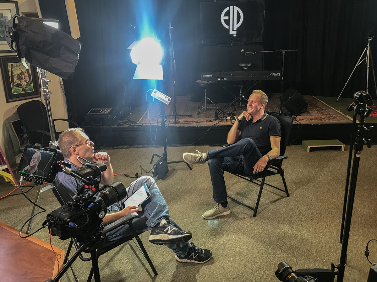 Elliot Gould interviewing Keith Emerson's son, Aaron Emerson